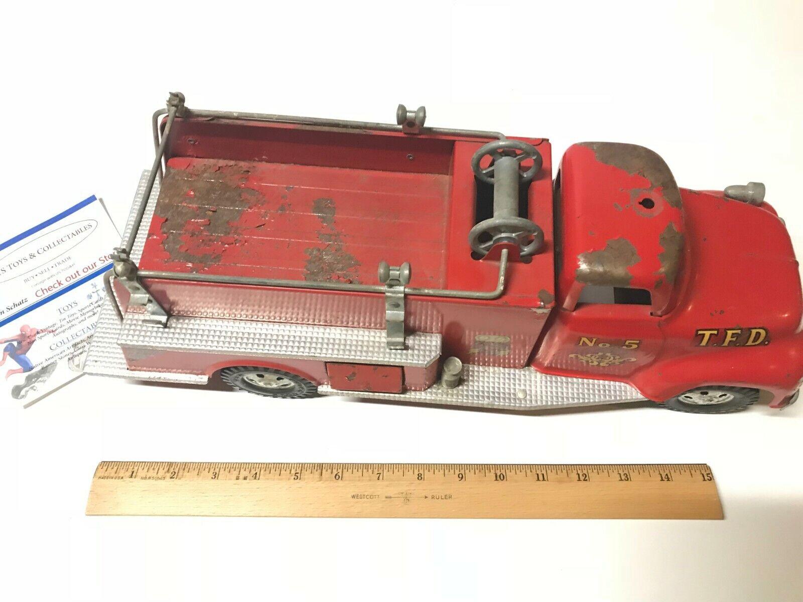 Vintage 1950's Tonka No. 5 Metal Toy Pumper Fire Truck Pressed Steel