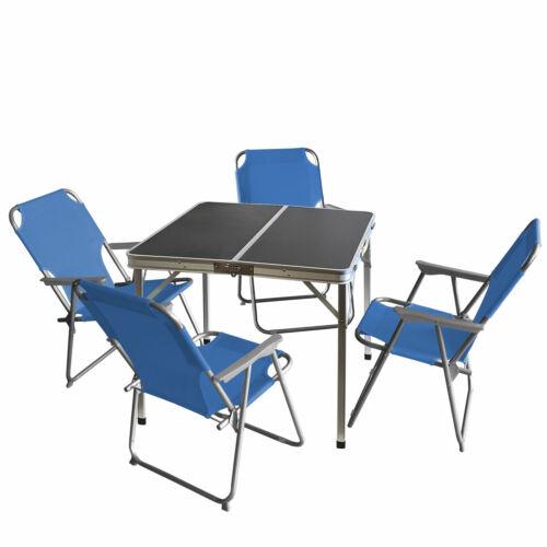 4x Klappstuhl Blau Campingmöbel-Set Alu Campingtisch /'Domburg/' 80x80cm 5tlg
