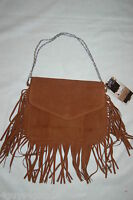 Ipad Cover Flip Up Clutch Mock Suede Brown Fringed Removable Chain Strap