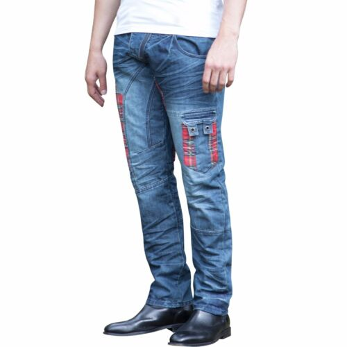 Tartan pantaloni blu Mens patch Eto denim em607 Tapered conici Pocket Multi Stonewash Mid jeans Designer ta8wqaPF