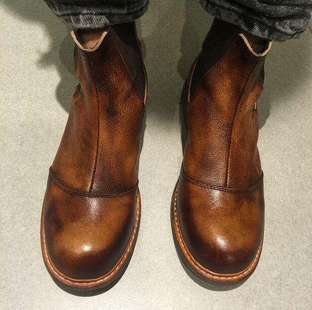 Hombres Cuero Real Chelsea Botas al Tobillo Zapatos informales de Retro Tobillo Alto Plataforma Retro de W1029 ce92f6