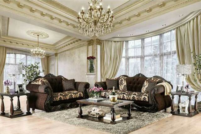 Traditional Living Room Wood Trim & Brown Fabric Sofa Couch & Loveseat Set  IRD3