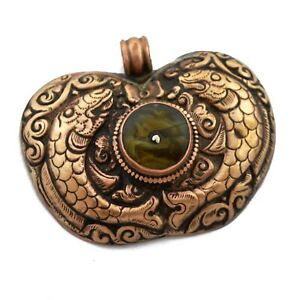 Double-Fish-Resin-Copper-Pendant-Tibetan-Good-Health-Luck-Happiness-PD964A