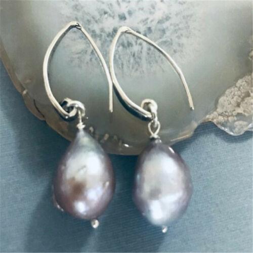 13-15mm gray Baroque South Sea pearl earring personality irregular temperament