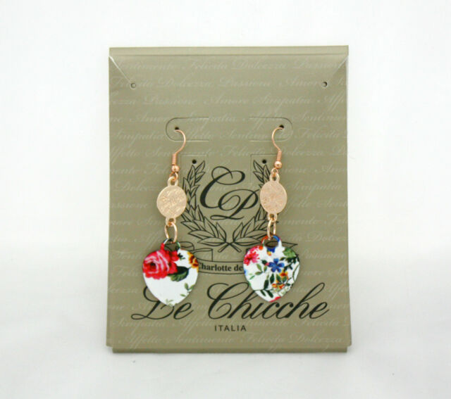 Orecchini con ciondoli floreali a cuore Charlotte de Paris-Le Chicche