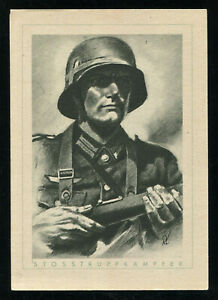 WW2-WWII-Germany-3rd-Reich-Postcard-Hitler-German-Army-Wehrmacht-Soldier-1940s