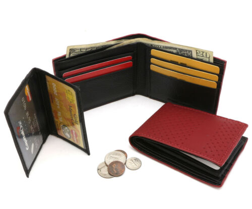 Bifold Maroon Red /& Black Leather Wallet Mesh Chain-Link Design Detachable Flap