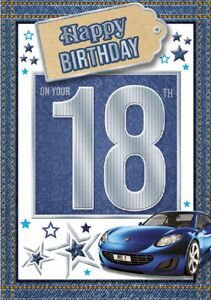 18 Today Happy Birthday Car Card For Age 18 Male