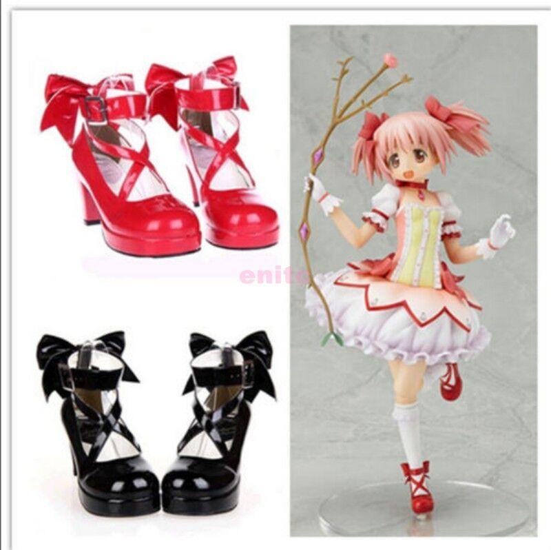 Retro Candy Colors mujer Madoka Kaname Cosplay Cosplay Cosplay Lolita Zapatos Taco Alto Talla Grande  primera vez respuesta