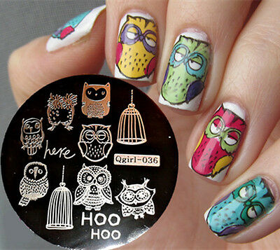 Mix Cute Owls Cage Nail Art Stamp Stamping Template Image Plate Nail Art Design