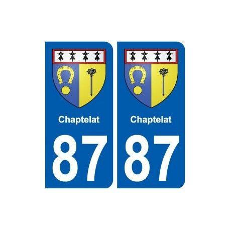 87 Chaptelat blason autocollant plaque stickers ville arrondis