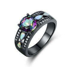 Black Rhodium Plated Mystic Topaz & White Fire Opal Engagement Ring