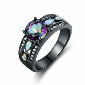 Black-Rhodium-Plated-Mystic-Topaz-amp-White-Fire-Opal-Engagement-Ring