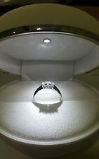 Anello Oro Bianco 18 kt Trilogy Diamanti 0,39 Carati f color vs1 Regalo Donna