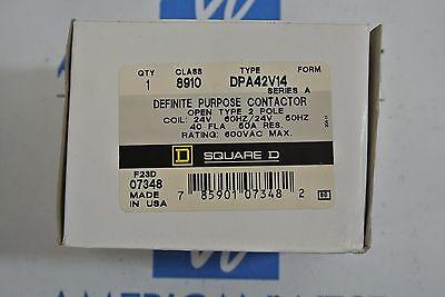 Square D 8910 DPA42V14 2P 600V Max 40A NEW IN BOX 24VAC Coil