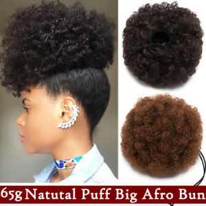 Puff-Ponytail-Bun-Clip-In-As-Human-Hair-Extensions-Afro-Black-Updo-Thick-Chignon
