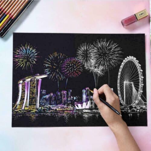 Magic papier Scratch Art Peinture Avec en Bois Dessin StickRoyaume-Uni VENDEUR UK Stock