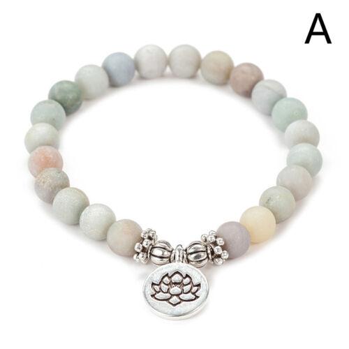 Women Men Matte Amazonite Stone Lotus Buddha Yoga Bracelets Chakra Mala Beads IY