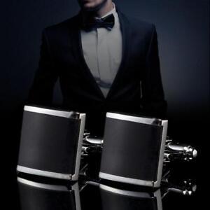 1-Pair-Men-039-s-Stainless-Steel-Black-Cuff-Links-For-Men-039-s-Wedding-Party-Gift-BG