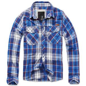 Shirt Brandit 4002 Homme Chemise Flanelle Bûcheron Carreaux Manches Longues Bleu