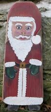 ANTIQUE SANTA CLAUS WOOD IRONING BOARD Primitive Folk Art  Hand Made and painted
