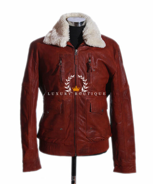 Brayden Whisky Brown Mens Aviator Bomber Fur Collar Winter Leather Flying Jacket