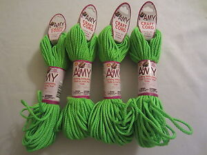 Lot-of-4-rolls-2mm-Neon-Green-Amy-Braid-Nylon-Macrame-Craft-Jewelry-Cord-100yds