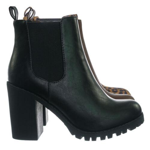 Glove Block High Heel Chelsea Boots Women Lug Sole Elastic Ankle Bootie