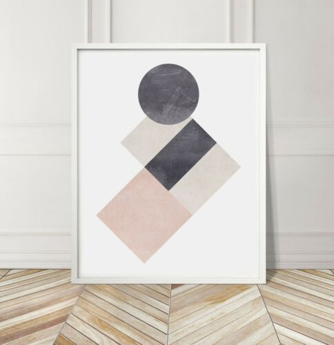 Pink Grey Shapes Soft Cotton Geometric Abstract Gallery Wall Art Poster Print