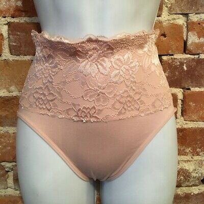 Rhonda Shear Dusty Rose Pink Lace Overlay Seamless Brief Panties New NWOT