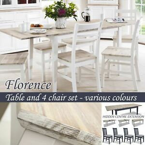 Dove grey kitchen extendable table Seats up to 6 people Florence large rectangular table