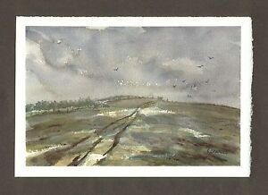 Darfield-Hill-ORIGINAL-WATERCOLOUR-LANDSCAPE-PAINTING-Signed-Steve-Greaves-Crows