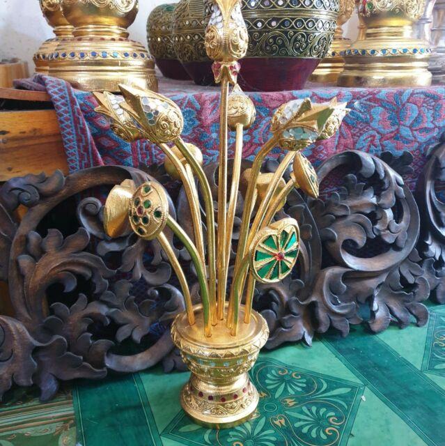 2 x Lotus Flower Gold Leaf Wood Table Buddha Worship Decor ...