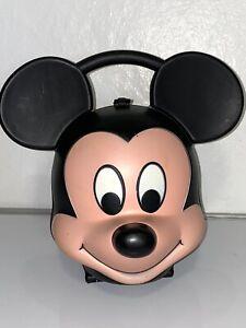 Vintage Walt Disney Mickey Mouse Head Aladdin Plastic Lunch Box w/ Thermos