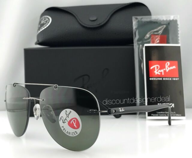 21db3babd4 Ray-Ban RB 8059 004 9a Gunmetal Metal Aviator Sunglasses Green Polarized  Lens