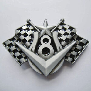 Carreras de auto racing checkered Flag adorno en la cintura herradura Motorsport Buckle * 097