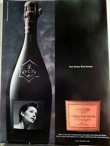 LA GRANDE DAME CHAMPAGNE VEUVE CLICQUOT PONSARDIN ORIGINAL    VTG 1998 AD,
