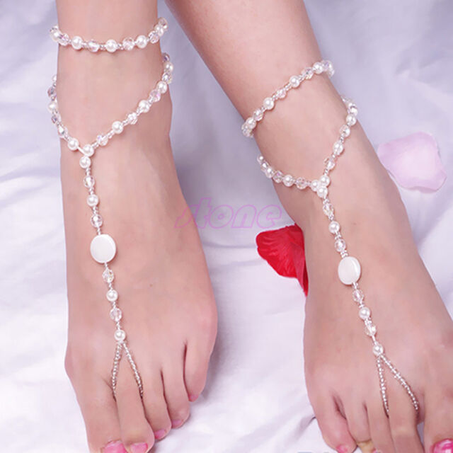 Hot Foot Jewelry Pearl Anklet Chain Barefoot Sandal Bridal Beach Ankle Bracelet