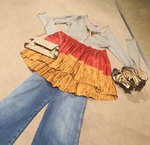 Manoush-Wool-Silk-Peplum-Knit-Blouse-M-Grey-Marle-Red-Gold-Layered-French-Chic