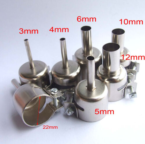 6PCS Φ3//4//5//8//10//12mm Hot Air Stations Gun nozzle for 852 850 Soldering station