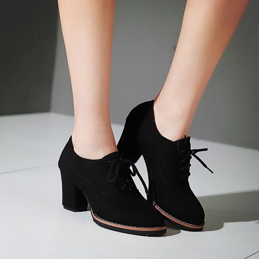Faux Suede Block Heel Comfy Ankle Boots British Platform Casual Lace Up shoes