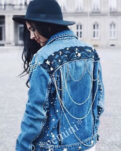 low priced 667ac 45a62 Dettagli su Zara Giacca Jeans Giacca Borchie Punta Catene Denim sequinned  Studded Lace Jacket- mostra il titolo originale