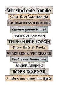 Details Zu Wandschild Dekoschild Familie Regeln Schild Holz Spruch Vintage Shabby Chic Deko