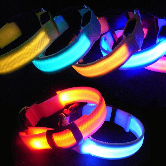 ADJUSTABLE BRIGHT FLASHING BLUE LED COLLAR PET DOG SAFETY NIGHT LIGHT
