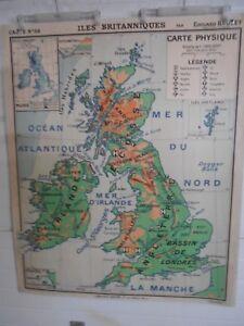 Carte Angleterre Irlande Ecosse.Ancienne Carte Scolaire N 58 Iles Britanniques Irlande Ecosse
