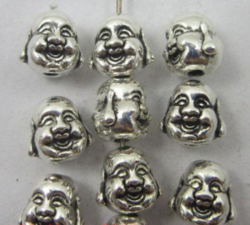 Lot auspicious Tibet silver Maitreya Buddha charms beads 10x10x8mm