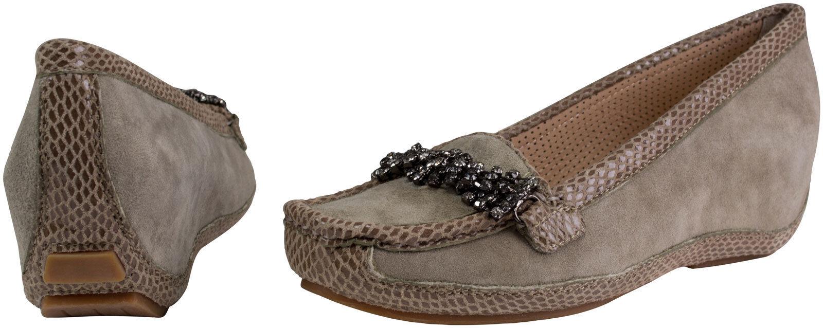 Pump Platform scarpe, Wedge -Moccasins Taupe   Beige Wedge Heel Glitter Buckle  vendite online