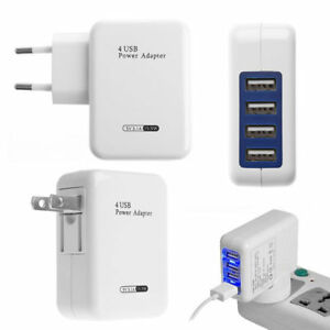 3-1A-4-Port-USB-Portable-Home-Travel-Wall-White-Charger-US-Plug-AC-Power-Adapter