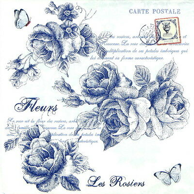 "4x Single Table Paper Napkins for Party, Decoupage, Craft ""Vintage Blue  Roses"