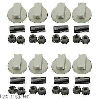 8 x Argent Four Boutons pour Rangemaster plaque de cuisson Cuisinière Switch Bouton adaptateurs